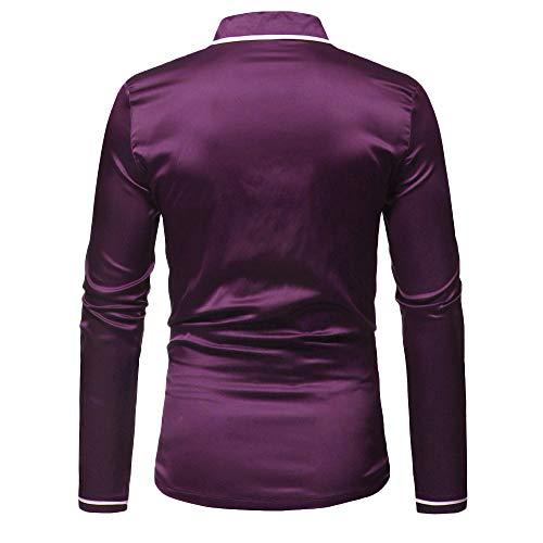 Violet Haut Automne Casual Satin Chemise Malloom De Manches Costume Longues Mens À Pyjama Chemisier Hiver En HqZawq