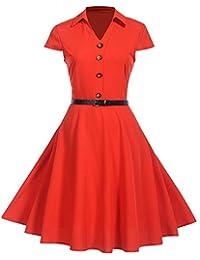 a198289a733b Women Vintage Short Sleeve Button V-Neck Classy Dress 1950s Retro  Rockabilly Prom Cocktail Party