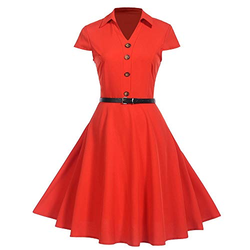 (Women Dress Summer Vintage Short Sleeve Solid Party Turn-Down Collar Swing Dress)