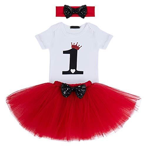 (It's My First 1st Birthday Outfit Baby Girls Crown Romper + Ruffle Tulle Skirt + Sequin Bowknot Headband Shiny Party Princess Dress up Costume for Cake Smash Photo Shoot Fall Clothes Red + Black 1T )