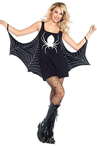 CutePaw Women's Sexy Black Sleeveless Jersey Tunic Dress Spiderweb Cosplay Halloween Costume (Cowgirl Costume Simple)