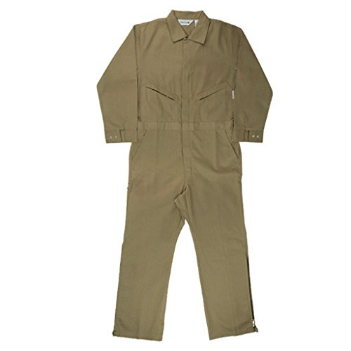 Oil and Gas Safety Supply Men's FR Coverall With Leg Zippers 46/L Khaki