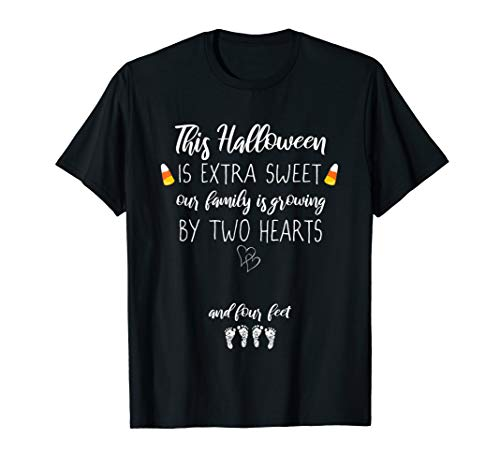 Expecting Mom Candy Corn Halloween Twin Pregnancy Reveal Tee ()