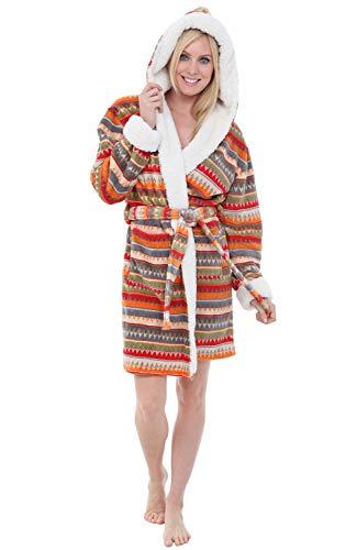 Alexander Del Rossa Womens Short Fleece Hooded Robe, Bathrobe with Trim, Small Medium Aztec Sunrise (A0277W15MD)
