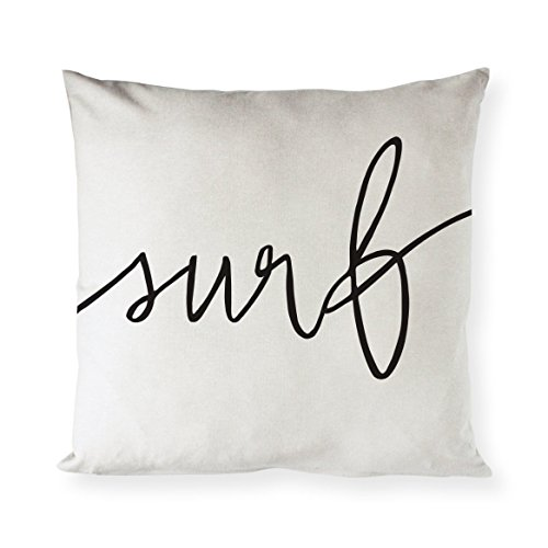 The Cotton & Canvas Co. Surf Home Decor Pillow Cover, Pillowcase, Cushion Cover and Decorative Throw Pillow Case (Natural Canvas Color, Not White)