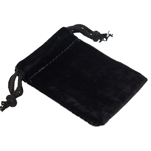 Pack of 12 Black Color Soft Velvet Pouches w Drawstrings for Jewelry Gift Packaging, 5x7cm - Personalized Jewelry Pouch