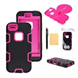 TIANLI(TM) Robot Armor Defender Case Combo For Apple iphone 5C+[Screen Protector]+[Free Stylus]+[Cleaning Cloth] Black Hot Pinke B1