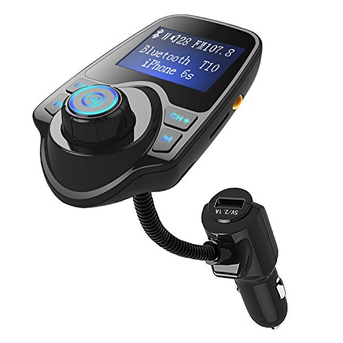 Bluetooth FM Transmitter Wireless In-Car Radio Adapter Hands-free Call Car Kit MP3 Player 3.4A Dual USB Car Charger with Display for iPhone iPad iPod Samsung Xiaomi Huawei(black) (FM Transmitter T10) by Geelyda