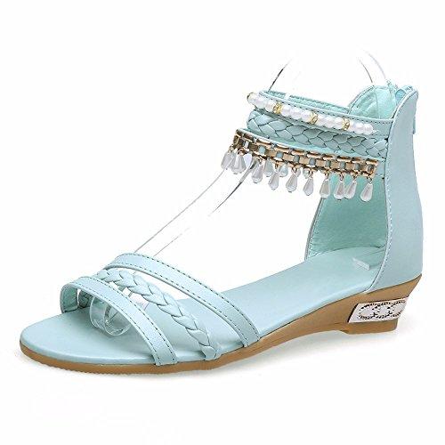 Sweet Rhinestones Una Palabra Con Sandalias De Dedo Rocío Femenino Verano Cientos De Fondo Plano Con Flecos Calzado Femenino Blue