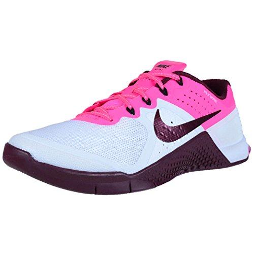 Nike Femmes Metcon 2 Cheville Haute-mode Sneaker Rose / Blanc / Rouge