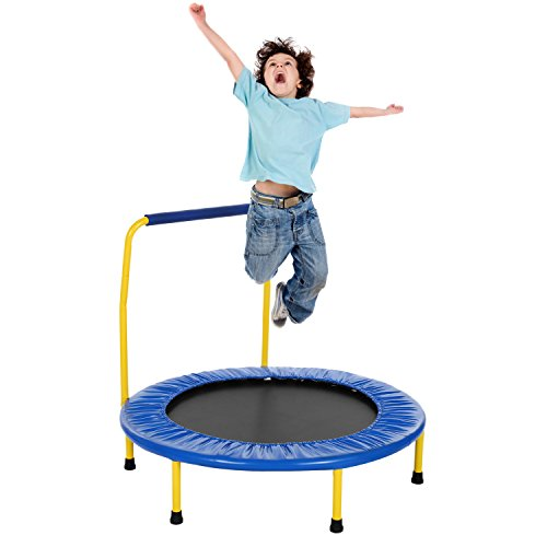 Tomasar 36'' Mini Kids Trampoline Foldable Rebounder Fitness Indoor or Outdoor Trampoline with Balance Handrail (Blue) by Tomasar