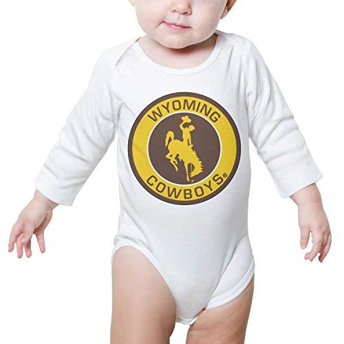 Watch Round Logo (PoPBelle Wyoming Cowboys Round Logo Baby Onesie White Bodysuit Long Sleeve Neutral Cotton Cute)