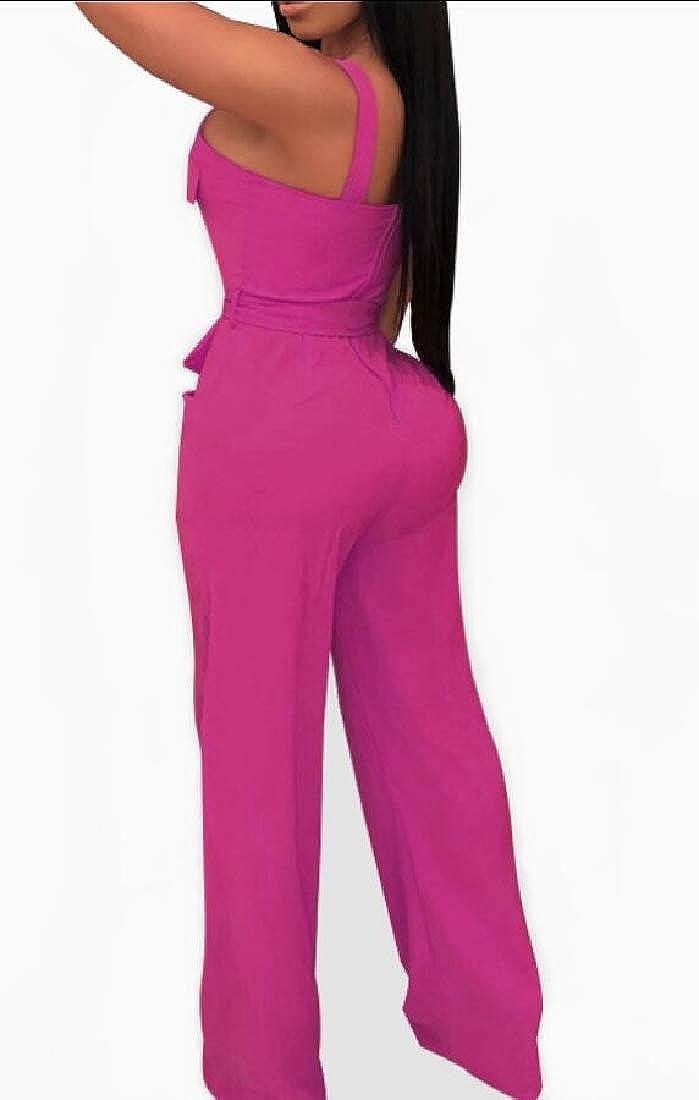 Women One Piece Bodycon Long Jumpsuits Strap Wide Leg Pants Night Jumpsuit Romper