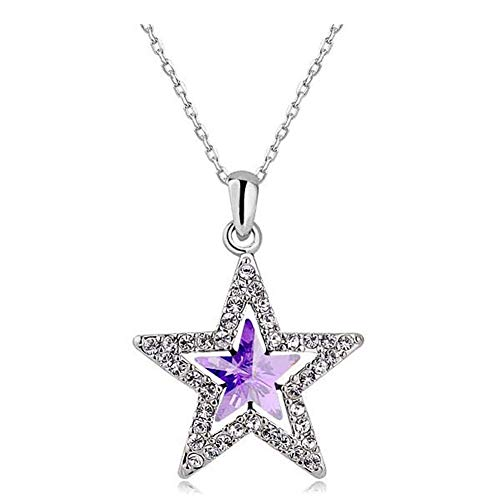 MIXIA Charm Triple Crystal Star Long Sweater Chain Necklace Fine Jewelry Crystals Women Red Pearl Cross Tassel Necklace (Purple Star)