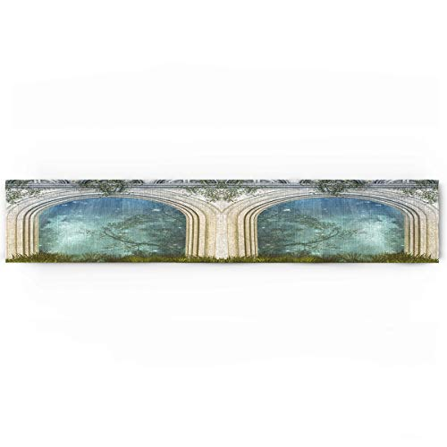 Mystic Cotton Linen Table Runner Rectangle Plate Mat Outdoor Rug Runner for Coffee Dining Banquet Home Decor, Magic Ancient Curved Door in the Forest Mystic Surreal Nature World Print, 14 x 72 inch