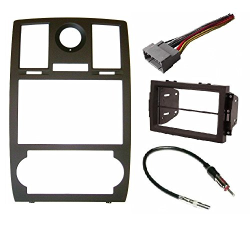 Radio Stereo Car Install Double Din Navigation Black Bezel,Harness and Antenna Adapter Fitted For Chrysler 300 2005 2006 2007 (Chrysler Navigation Antenna)
