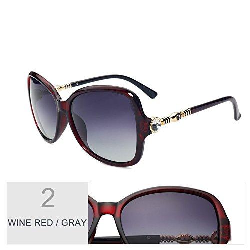Mariposa TIANLIANG04 Polarizadas Lujo Red Gafas Brown Señor Gafas Sol Gray De De Wine De Sol De Bastidor De Eyewear Diamond Tamaño Big Brown r7AnEW1rp