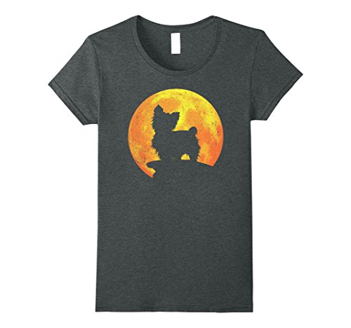Womens YORKIE POO Dog And Moon Halloween T-shirt Costume Medium Dark Heather