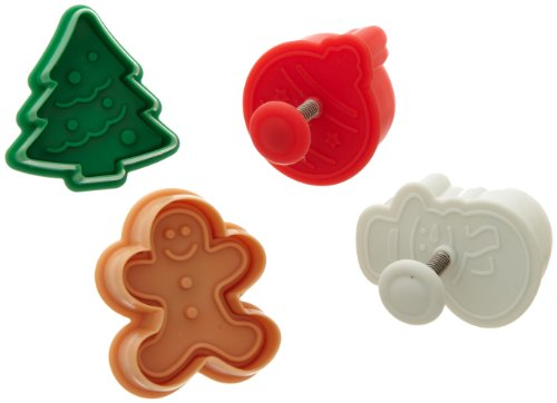 Ateco 1993 Christmas Themed Plunger Cutters, Set of 4 Shapes for Cutting Decorations & Direct Embossing, Spring-loaded Handle, Food Safe - Christmas Cookie Plastic Cutters