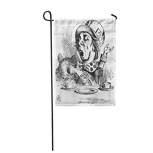 Semtomn Garden Flag 28x40 Inches Print On Two Side Polyester Hatter Engaging in Rhetoric Mad is Telling Story to Alice Home Yard Farm Fade Resistant Outdoor House Decor Flag