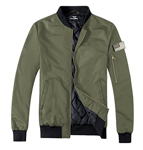 MADHERO Men s Padded Flight Jacket Lightweight Quilted Coat With Patches  Color Army greensize (Flight Jacket e655e2ea560