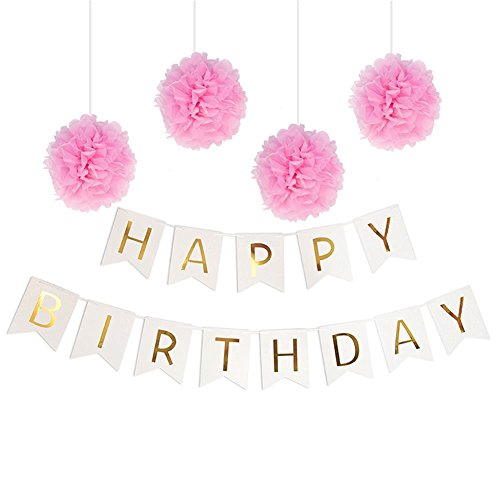 Pastels-Party-decorations-Happy-Birthday-Bunting-13-flags-BannerSet-of-4-Pink-Tissue-Paper-Pom-Poms