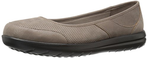 Clarks Womens Jocolin Myla Flat, Pewter Perforated Synthetic, 9 W US