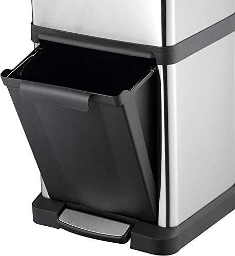 Acero Inoxidable Cubo de Basura Vertical con Pedal de Reciclaje selectivo de 34 L KITCHEN MOVE BAT-959110 32,5 x 322,5 x 77,2 cm