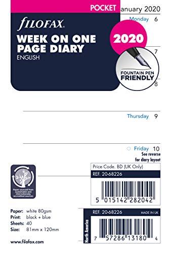 Filofax Pocket Week per Page English 2020 Diary