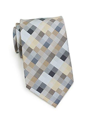 Bows-N-Ties Men's Necktie Patchwork Plaid Microfiber Satin Tie 3.25 Inches (Tan, Silver, - Tie Shiny Silver
