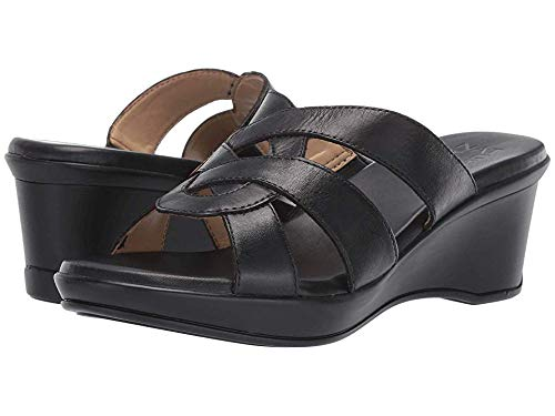 Naturalizer Womens Violet Leather Open Toe Casual Slide Sandals, Black, Size 7.0