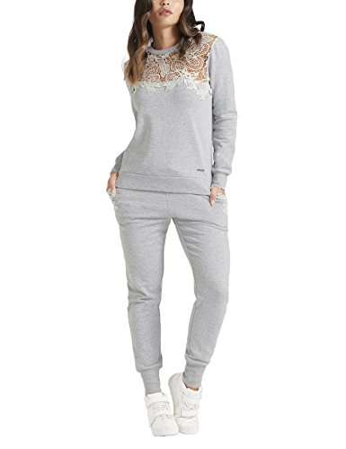 Merino Mohair Lace (Lipsy Womens Lace Sweat Joggers Grey M)