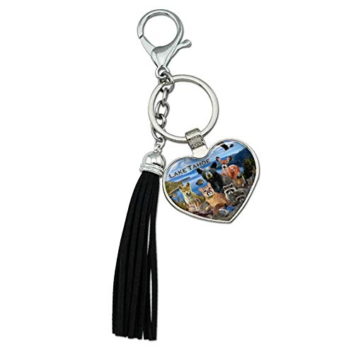 - Graphics and More Lake Tahoe California CA Nevada NV Animals Bear Cougar Deer Chrome Plated Metal Heart Leather Tassel Keychain