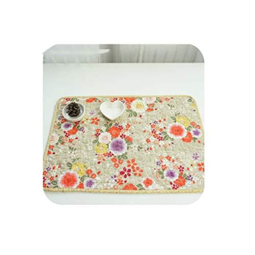 - Cotton Quilted Table Placemat Cup Pot Plate Pad Mat 2PCS 32x48CM Vintage Japan Style Gorgeous Flora Pattern Decor