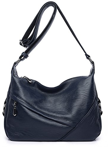 (Women's Retro Sling Shoulder Bag from Covelin, Leather Crossbody Tote Handbag Dark Blue)