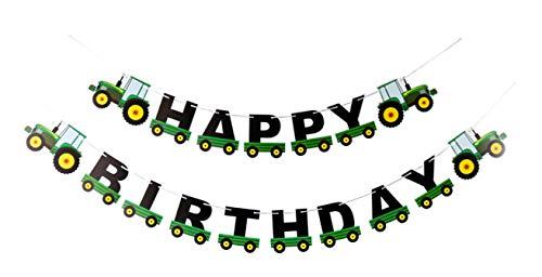E&L Tractor Happy Birthday Banner, Tractor Themed Birthday Party Decorations, Tractor Birthday Party Supplies, for Baby Shower Party, Birthday Party Decoration