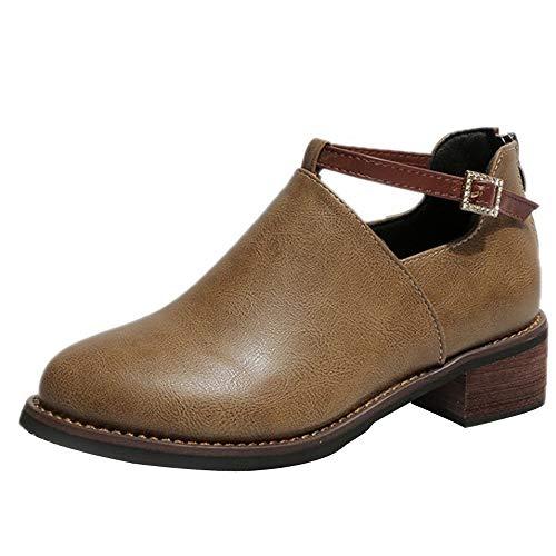 FORUU Fashion Women Boots Round Toe Martin Boots Classic Ankle Boots Casual Shoes Khaki