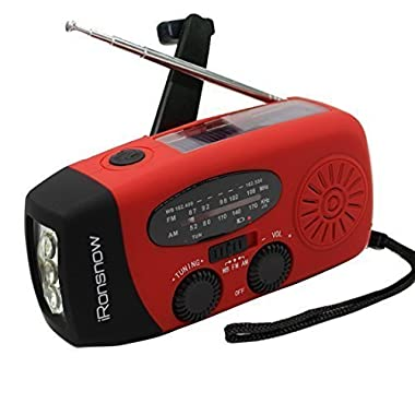 iRonsnow IS-088 Dynamo Emergency Solar Hand Crank Self Powered AM/FM/NOAA Weather Radio, LED Flashlight, Smart Phone Charger Power Bank with Cables (Red)