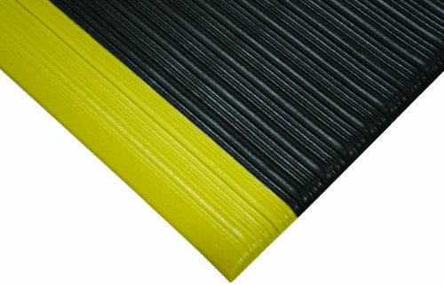 Wearwell PVC 451 Tuf Sponge Light Duty Anti-Fatigue Mat, for Dry Areas, 27'' Width x 36'' Length x 3/8'' Thickness, Black / Yellow by Wearwell (Image #1)