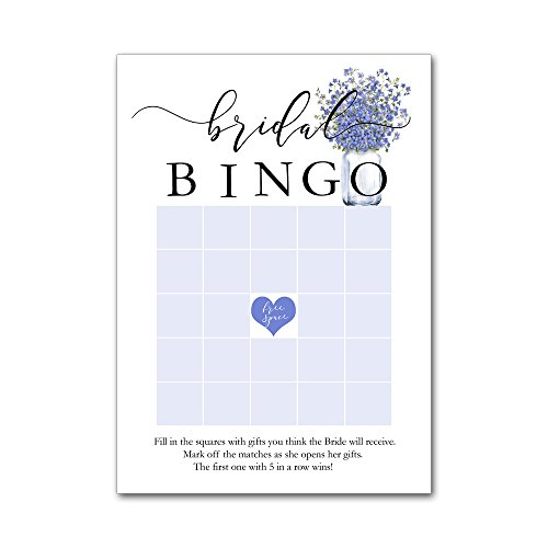 Bingo Game Cards for Bridal Wedding Showers with Watercolor Forget Me Not Flowers BBG8012 by Heads Up Girls