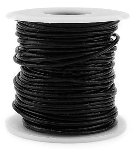 (CleverDelights Black Round Premium Genuine Leather Cord - 2mm - 10 Meters (11 Yards) - Beading Jewelry)