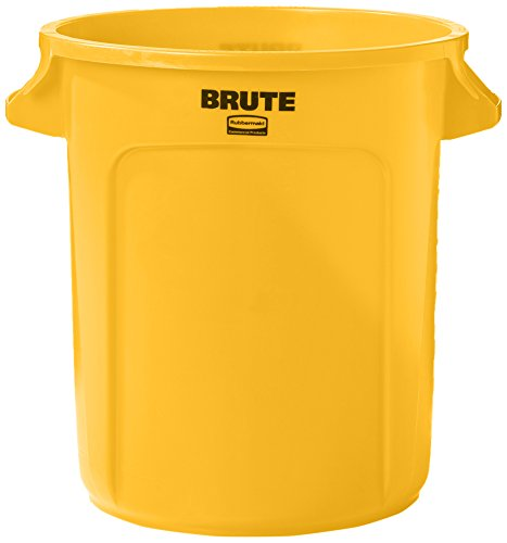 Rubbermaid Commercial BRUTE Heavy-Duty Round Waste/Utility Container with Venting Channels, 10-gallon, Yellow (10 Gallon Lighting)