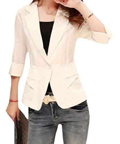 大学生変成器練るsayahe 女性のスキニー七分袖薄手のジャケットを1つのボタンのショートスタイルの小さなブレザー