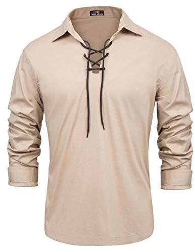 Mens Pirate Renaissance Adult Shirt Lace up Scottish Jacobite Ghillie Tops (2XL, Khaki) -