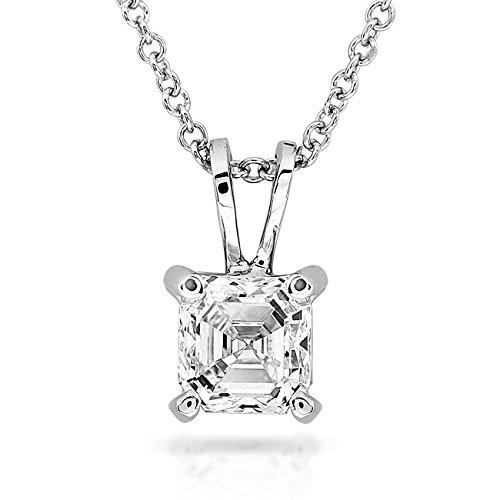 Asscher Diamond Necklace - Diamond Solitaire Pendant 1/4 Carat Asscher in 14K White Gold
