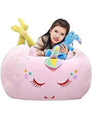 Unicorn Stuffie Animal Toy Storage Bag, Large Size Storage Bean Bag Cover 24x24 Inch Velvet Extra Soft Stuffie Organization Replace Mesh Toy Hammock for Kids Toys Blankets, Towels & Clothes Household Supplie