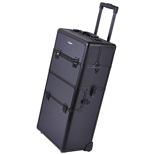Pro Cosmetic Makeup Artist Rolling Aluminum Train Case Hair Style Box Black by Generic