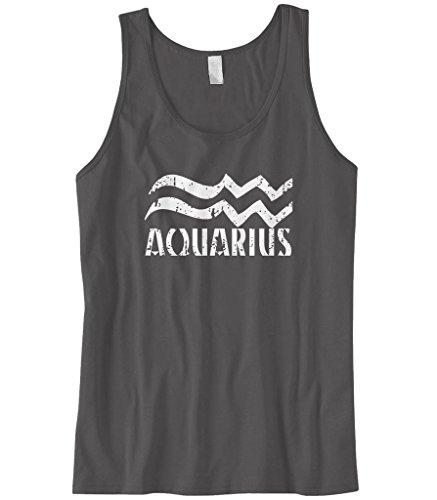 Cybertela Men's Distressed Aquarius Sign Tank Top (Charcoal, Large) (Aquarius Tank)