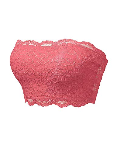 TL Women's Full Floral Lace Strapless Seamless Stretchy Bandeau Tube Bra Top Coral ()