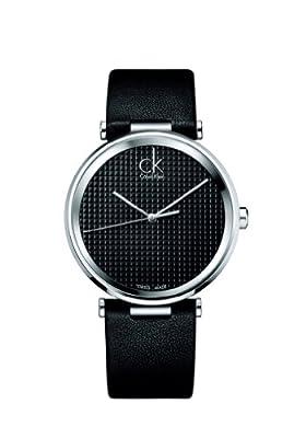 Ck Calvin Klein Gents Watch K1s21102 Black Leather Black Dial